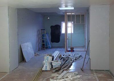 View down the studio during refurbishment