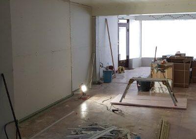 View up the studio during refurbishment