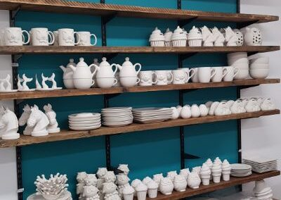 One shelf in the Whitby Kiln Studio