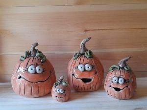 Pumpkin family made from handbuilding clay